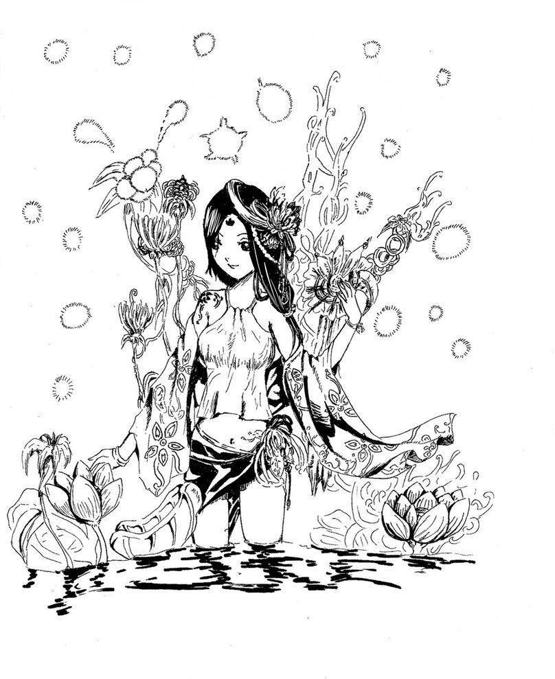 Flower garden sketch -  At Secret Flower Garden By Zzpopzz