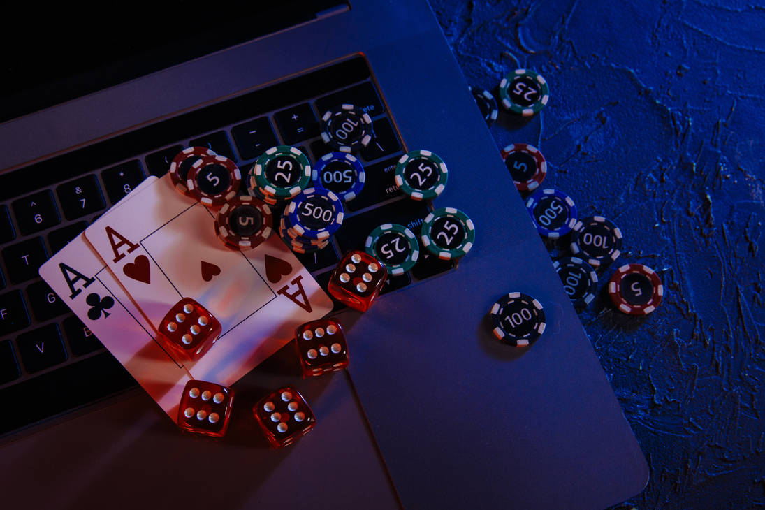 Casino-play-online-concept-playing-chips-cards-dic