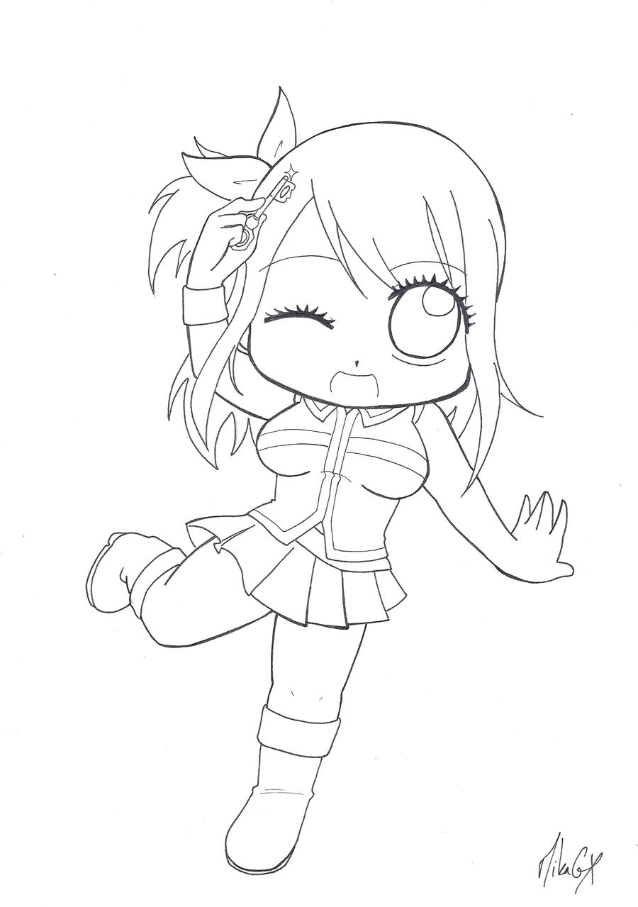 Fairy Tail Chibi Lucy Coloring Pages Sketch Coloring Page