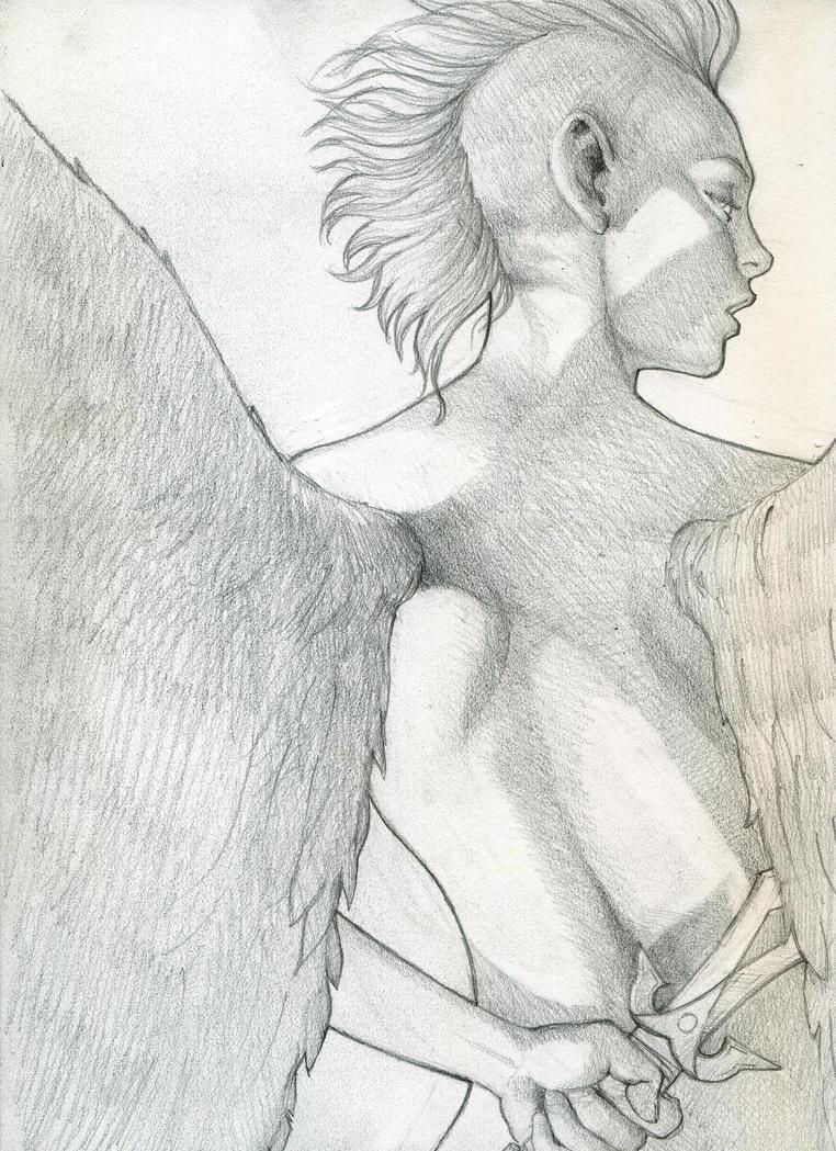 Angel Pencil Drawing by RMalijan