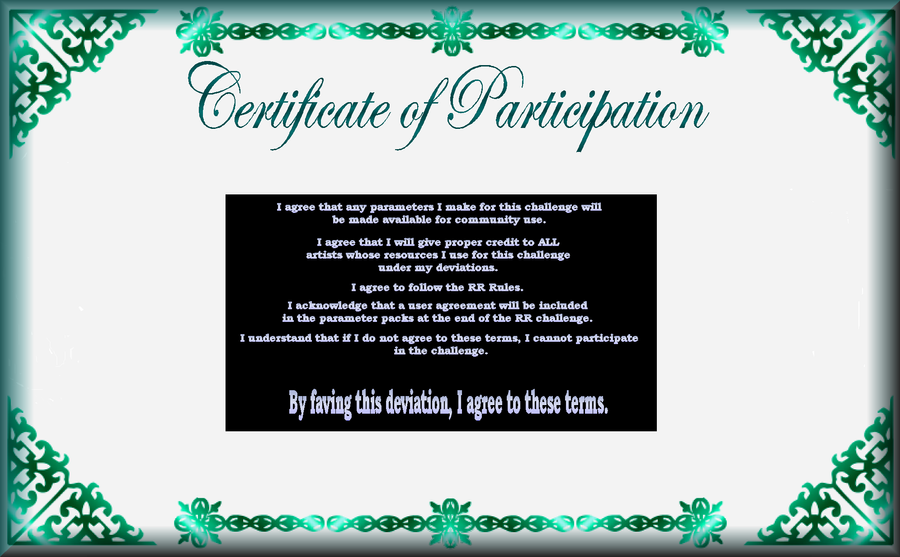 RR Participation Certificate by DWALKER1047