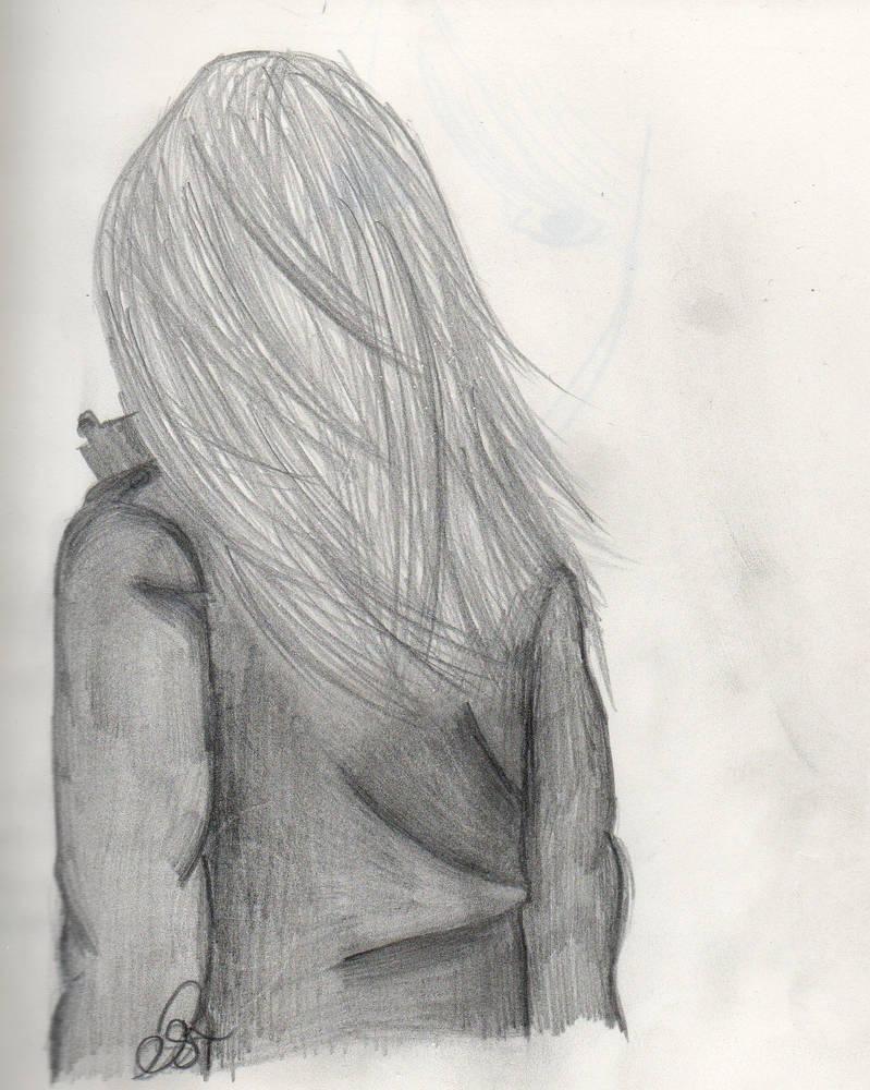 Girl in wind sketch by randomoart