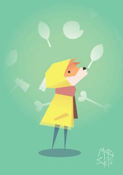 Fox in a raincoat