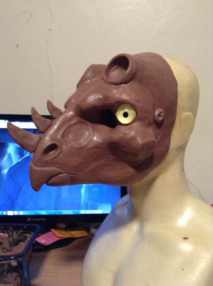 Horned Dino Mask Sculpt (WIP) by Crovv