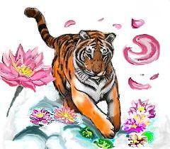 Running tiger by LiSha-Roses-n-Wings