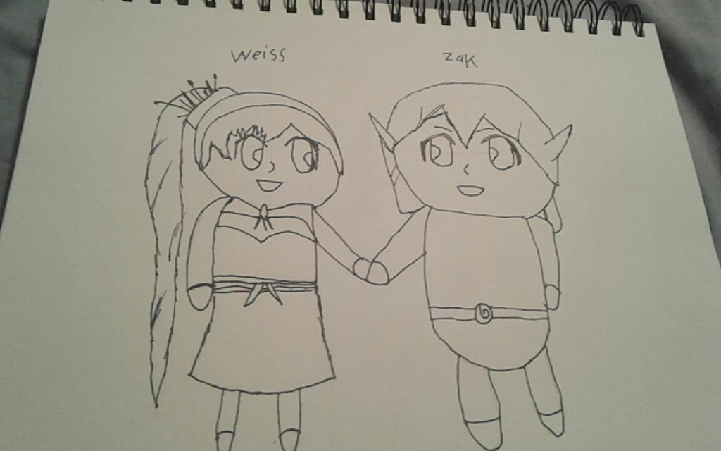 Weiss and Zak holding hands chibi form (request) by AnnaStrifeKazuhiro12