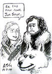 Sketch card - GoT: Ygritte, Jon Snow, and Ghost