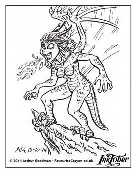 Inktober '14 - Dragon Girl
