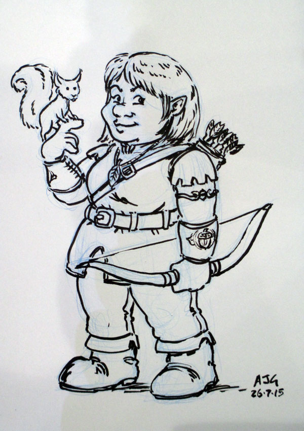 Sketch card - Forest Gnome Warlock