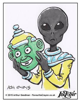 Inktober Drawlloween '15 - Alien