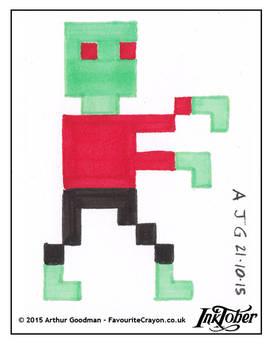 Inktober Drawlloween '15 - 8-bit Zombie