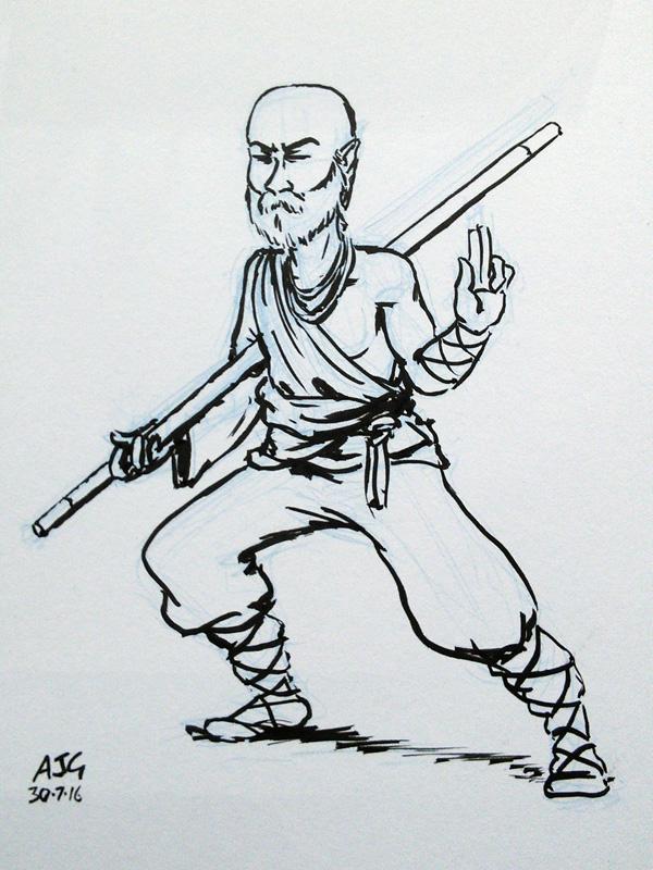 Sketch card - Half-Elf Monk