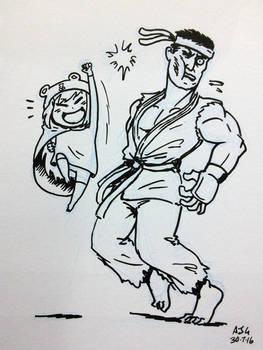 Sketch card - Umaru-chan Vs Ryu