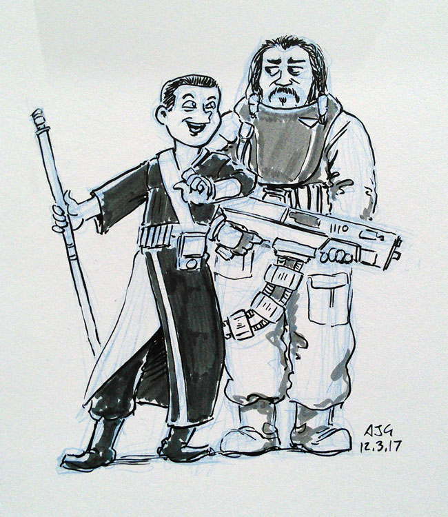 Sketch card - Baze Malbus and Chirrut Imwe by FavouriteCrayon