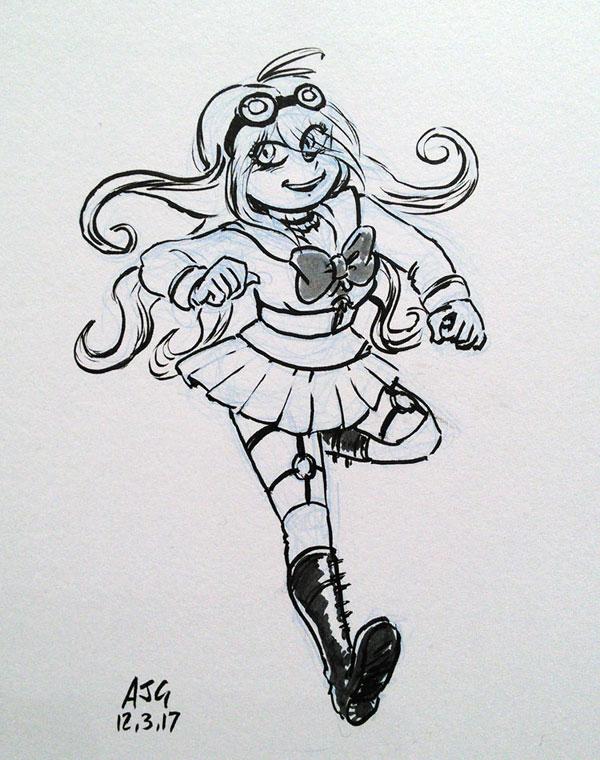Sketch card - Miu Iruma (Danganronpa) by FavouriteCrayon