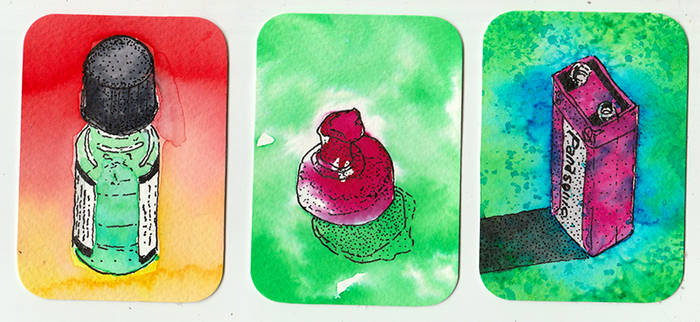Ecoline Testing - Artist Trading Cards by lofi-space
