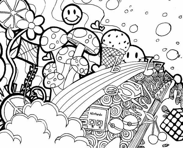 Psychedelic Mushroom Coloring Pages For Adults