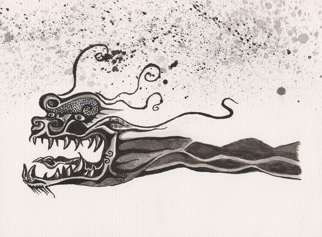 chinese dragon, indian ink by TofuXpress