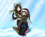 Anime Winter Girls Snuggling