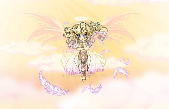 Anime Art: Angel sitting on Clouds