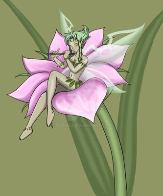 Anime Art | Nature Faerie playing Flute on Flower