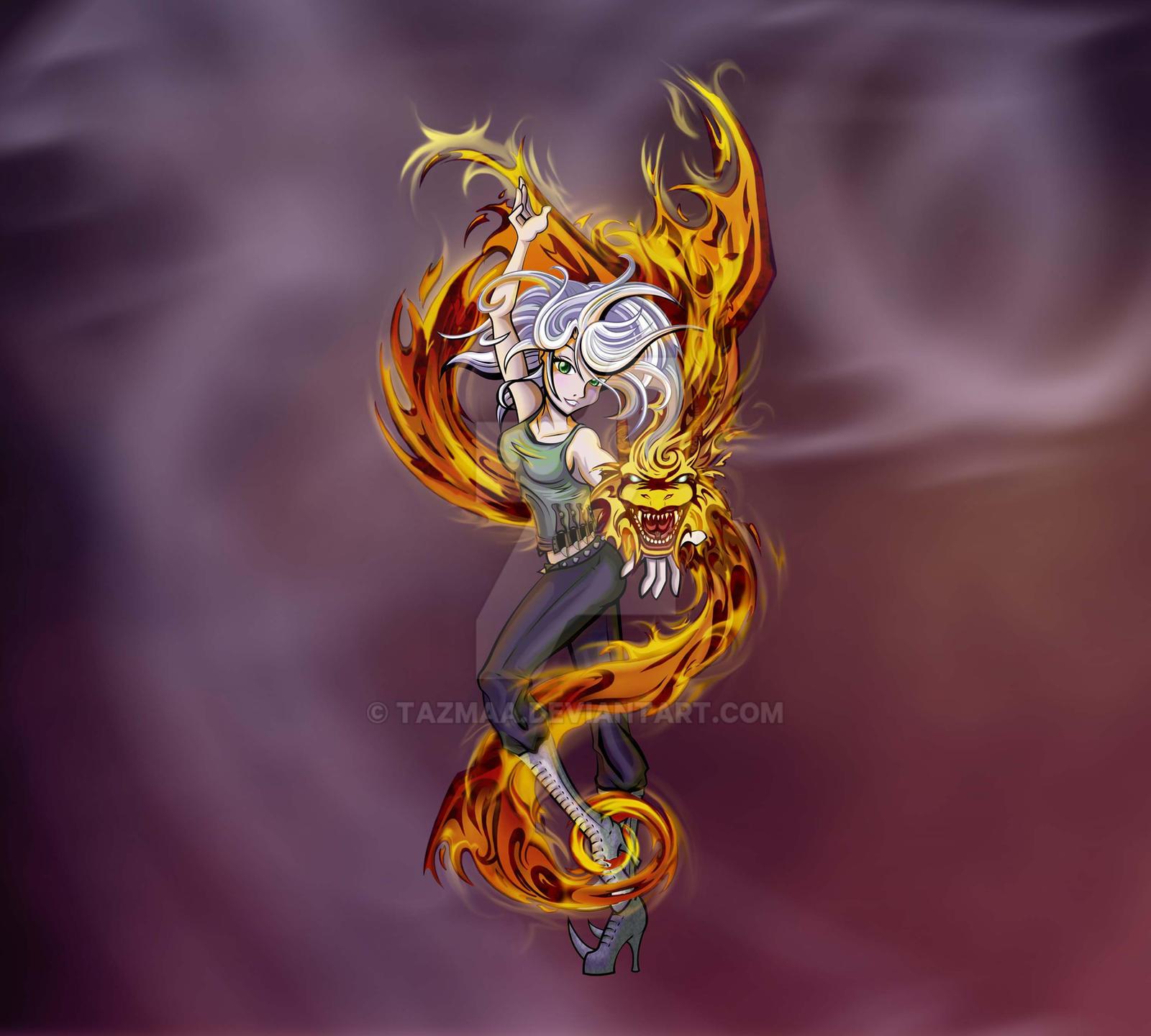 Fantasy Fire Dragon by Tazmaa