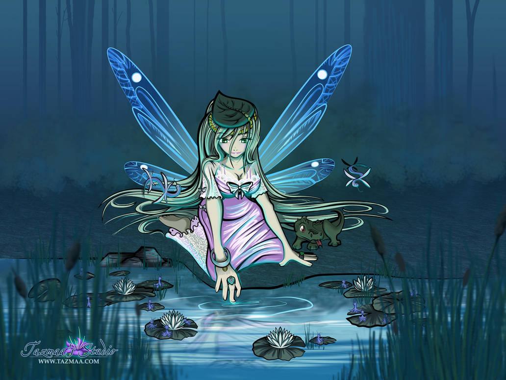 Water Fae Spirit Fantasy / Anime Style Fairy by Tazmaa