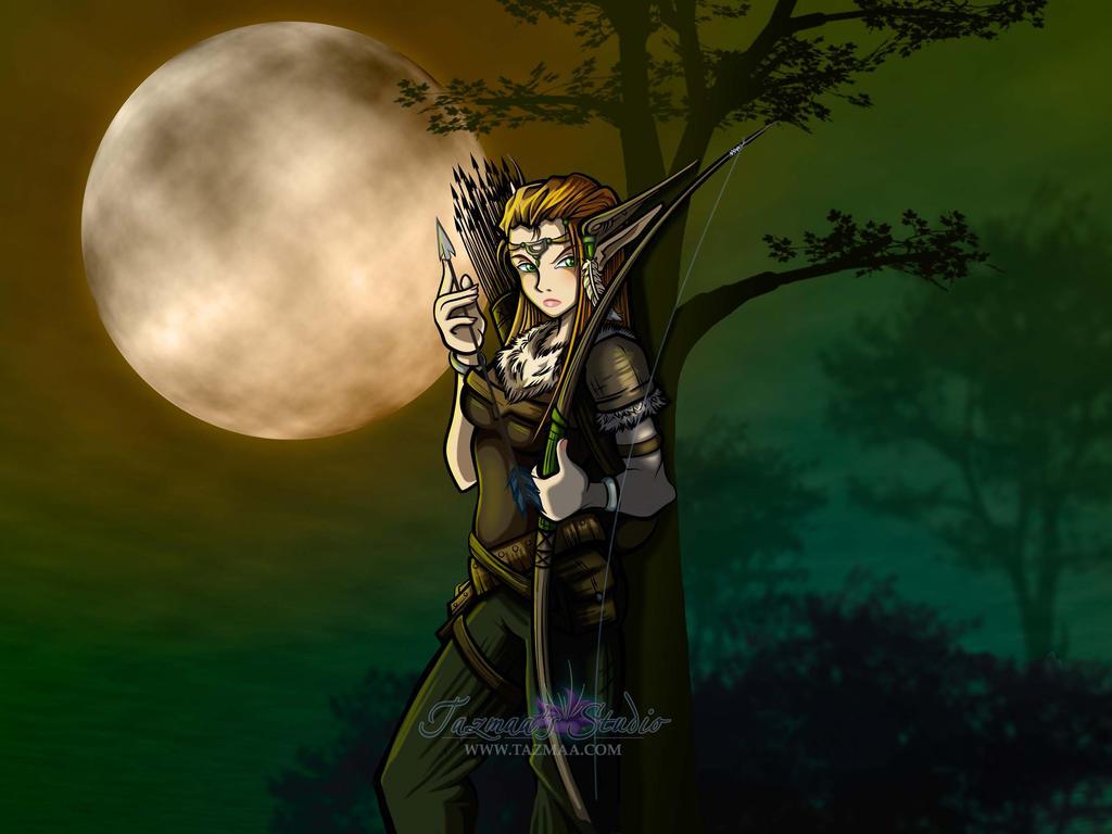Anime style Elf Archer Hero by Tazmaa