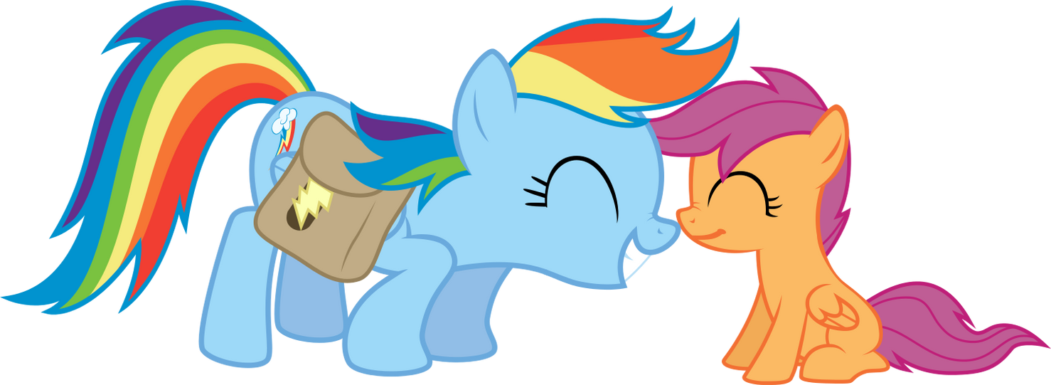 Scootaloo And Rainbow Dash Kiss Rainbow Dash And Scootaloo by