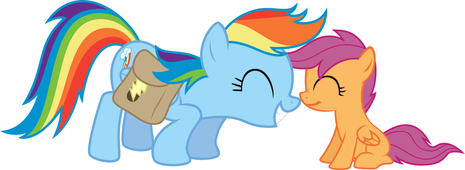 Scootaloo And Rainbow Dash Kiss Rainbow Dash And Scootaloo