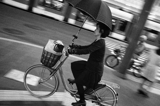 cyclist in the rain