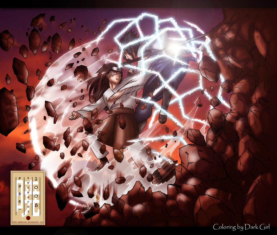 Neji vs Sasuke coloring by Angel-Ray