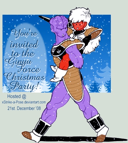 Ginyu Xmas Party Invitation by xStrike-a-Pose