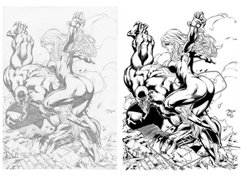 Black Cat and Venom - Inked by KevanG-Studio