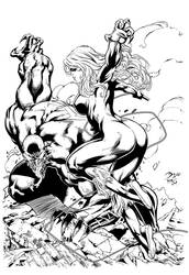 Black Cat and Venom - Inked by KevanG-Studio