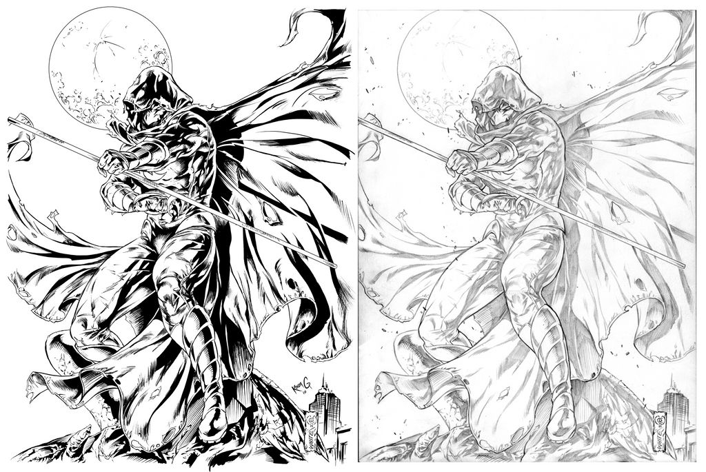 Moon Knight, Kevan G Studio, Inks and Pencils by KevanG-Studio