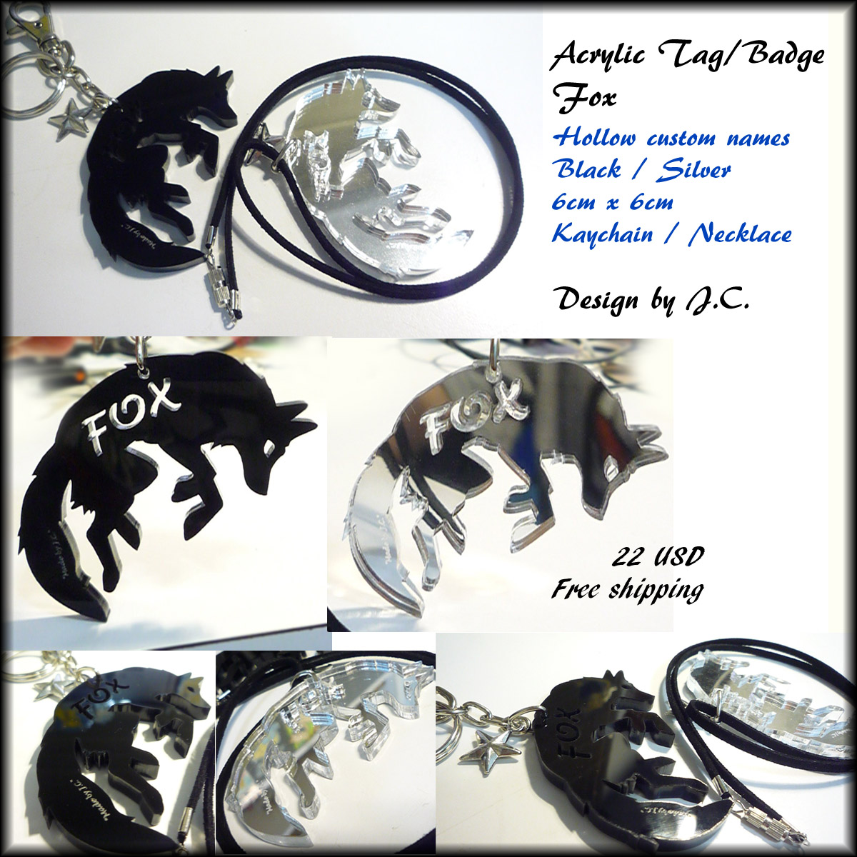 Acrylic Tag/Badge-Fox (custom your name) by J-C