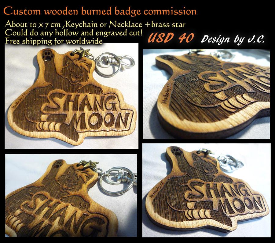 Wood burned badge commission--ShangMoon by J-C