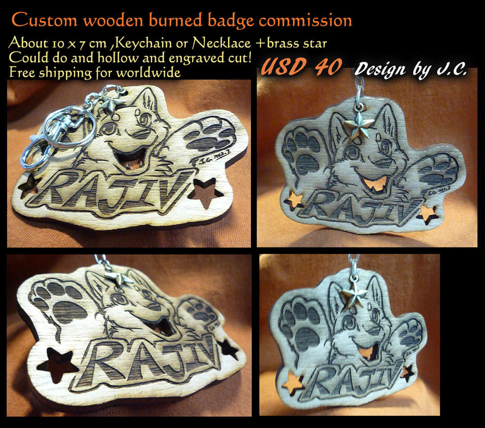 Wood burned badge commission--Rajiv by J-C