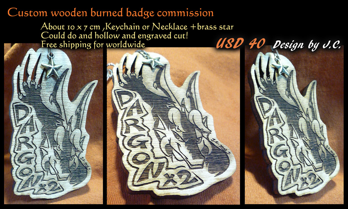 Wood burned badge commission--Dragon-x2 by J-C