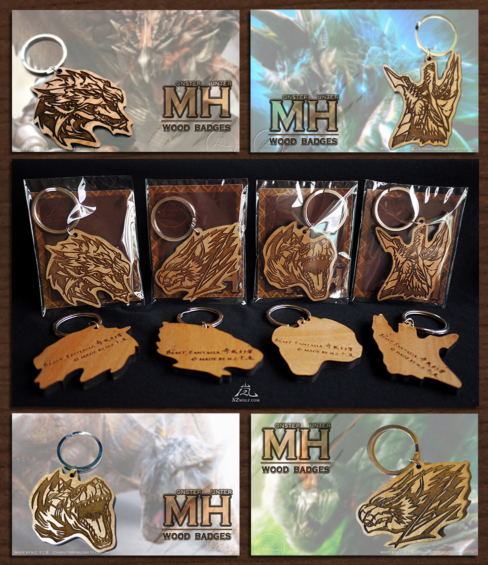 Monster Hunter Wood Badges by J-C