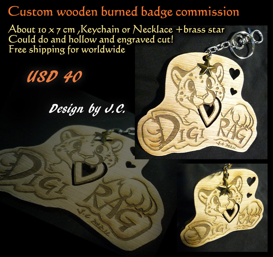 Wood burned badge commission--Digirag by J-C