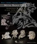 Wolf metal badge pin