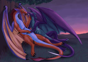 Aellynh and Athran by J-C
