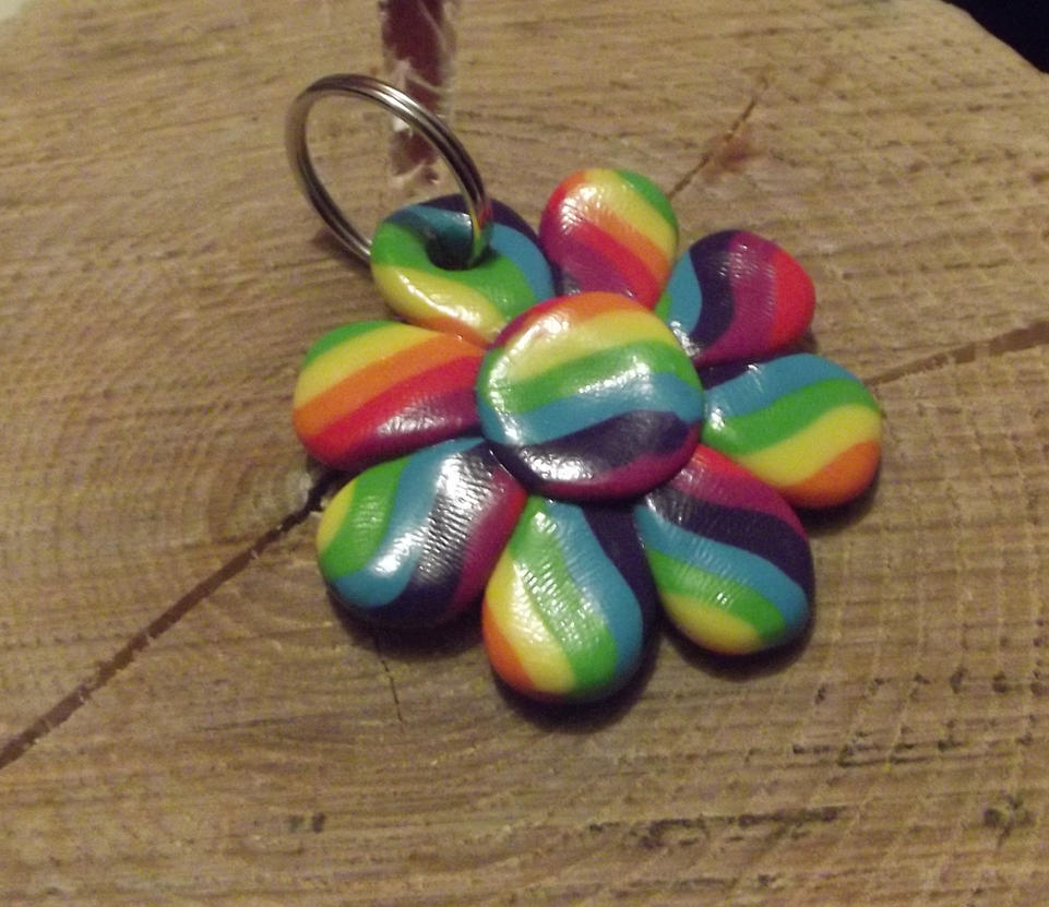 Rainbow flower keyring by MeticulousBlue