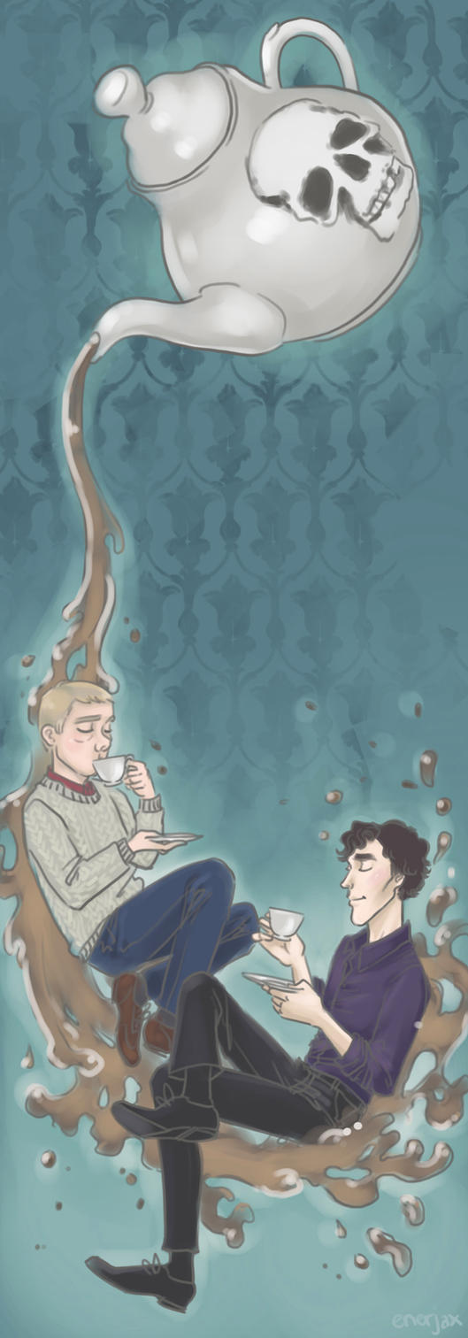Johnlock teatime by applejaxshii