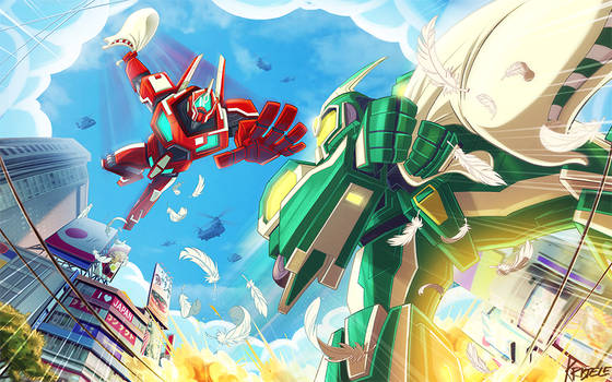Two Giant Robots Having A Pillow Fight