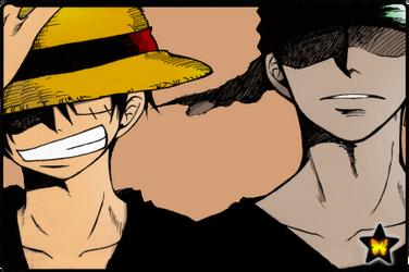 Luffy and Zoro by AneaKitsu