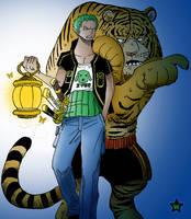 Roronoa Zoro 'n Tiger by AneaKitsu