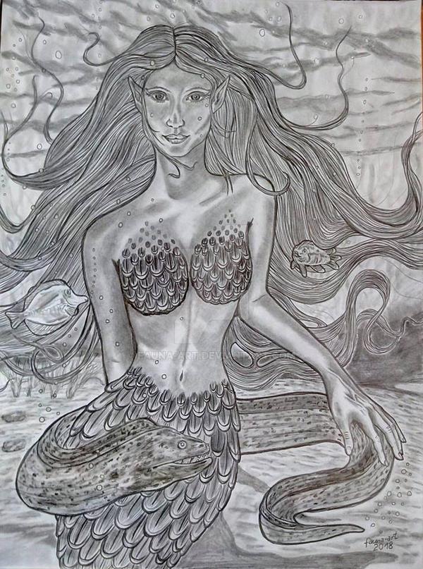 Meerjungfrau mit Muraene by fauna-art